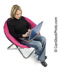 Woman Sit Laptop - Beautiful young woman working on laptop....