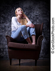 Woman sit on chair