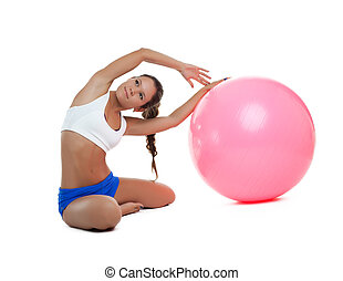 woman sit with fitness ball isolated
