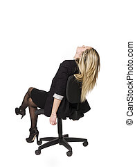 Woman siting in a office chair