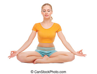Woman sits in a lotus pose