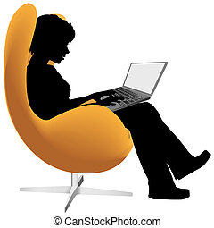 A woman sits in an egg chair to work or shop on a laptop computer.