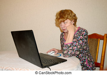 Woman sitting at a computer.