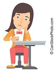 Woman sitting at bar. - A sad woman sitting at bar with a ...