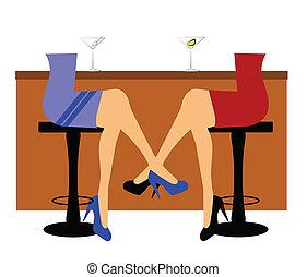 woman sitting at bar