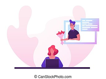 Woman Sitting at Laptop Searching Love Partner on Dating Web Site, Virtual Reality Human Relations, Girl Chatting Online with Man Holding Bouquet Flower, Communication Cartoon Flat Vector Illustration