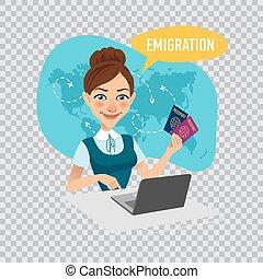 Employee of company prepares visas for immigrants. Emigration concept. Illustration on transparent background.