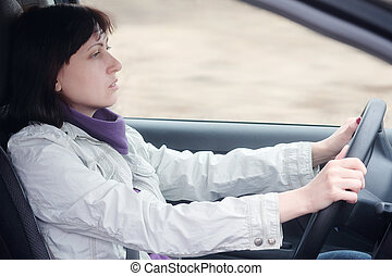 woman sitting behind the wheel of a car