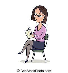 Woman sitting in a chair and writes in a notebook. Vector...