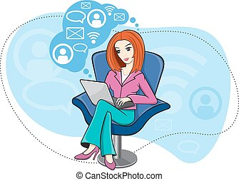 Woman sitting in chair working on notebook