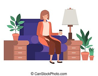 woman sitting in couch with coffee glass avatar character