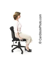 good posture - woman sitting in good posture