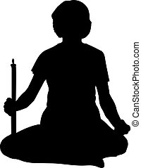 woman sitting in lotus position with candle silhouette isolated on white background vector illustration