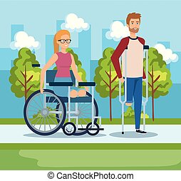 woman sitting in wheelchair and man walking with crutches