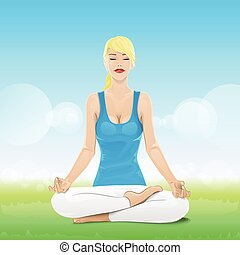 woman sitting in yoga lotus position closed eyes relaxing...