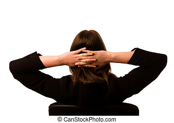Woman sitting on a chair in office