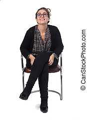 woman sitting on a chair on white background