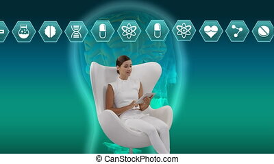Woman sitting on a chair with an illustration of human head