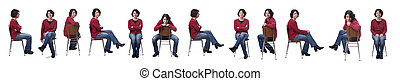 woman sitting on a chair with various poses on white
