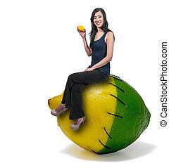 Woman Sitting on a lemon lime