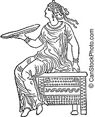Woman sitting on a safe, vintage engraving.