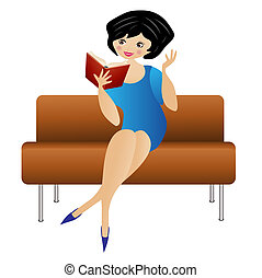 woman sitting on a sofa reads a book,  vector  illustration