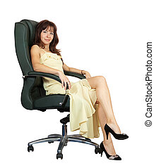 woman sitting on armchair. Isolated on white