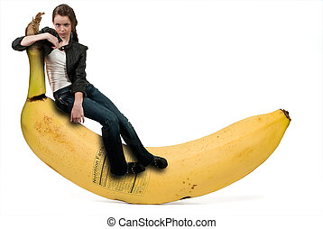Woman Sitting on Banana with Nutrition Label