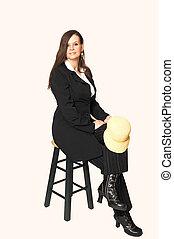 Woman sitting on bar chair.