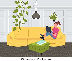woman sitting on couch girl using laptop contemporary living room interior home modern apartment design flat horizontal full length
