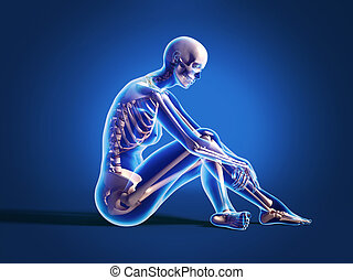 Naked woman sitting on floor, with bone skeleton superimposed. On neutral background, with clipping path included.