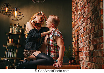 Woman sitting on her partner