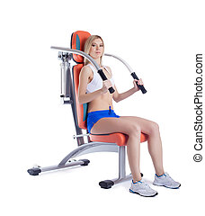 woman sitting on hydraulic exerciser isolated