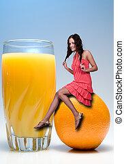 Woman Sitting on Orange