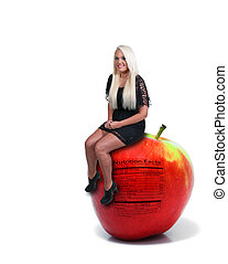 Woman Sitting on Red Delicious Apple with Nutrition Label