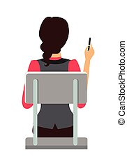 Woman Sitting on the Chair and Pointing by Pen - Woman...