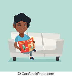 Woman sitting on the couch and reading a magazine.