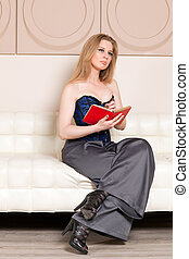 Woman sitting on the couch