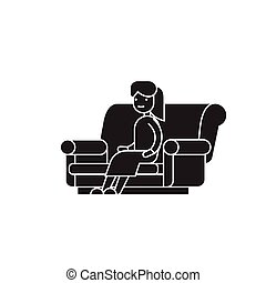 Woman sitting on the sofa black vector concept icon. Woman...