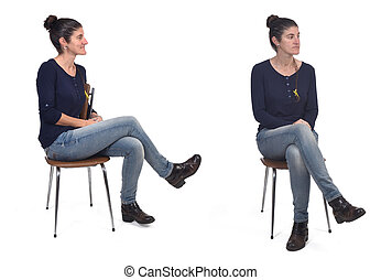 woman sitting profile and front on white background