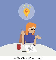Woman Sitting Thinking About Solution of Problem.