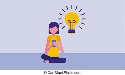 woman sitting using smartphone bulb idea creativity