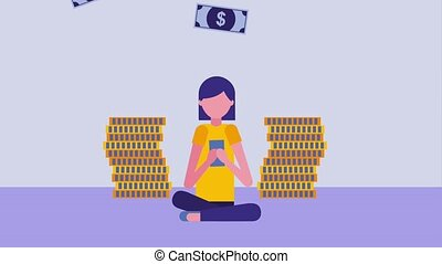 woman sitting using smartphone with banknotes and coins stack