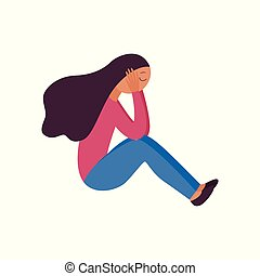 Woman sitting with her legs tucked and holding her head flat cartoon style
