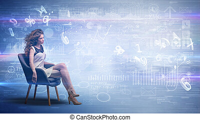 Woman sitting with numbers and reports concept
