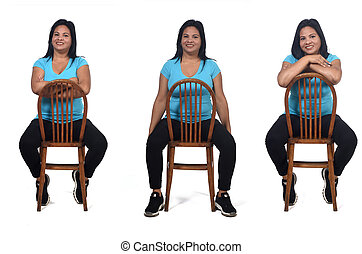 woman sitting with rotated chair on white background