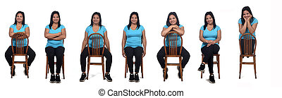 woman sitting with rotated chair on white