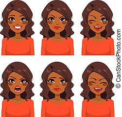 Beautiful African American woman with curly hair making six different face expressions set with red shirt