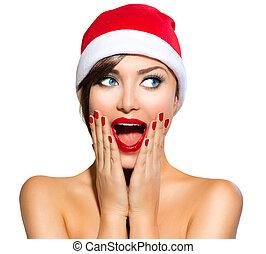 woman., skönhet, jul, jultomten, modell, hatt, flicka