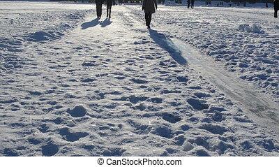 woman skate people snow